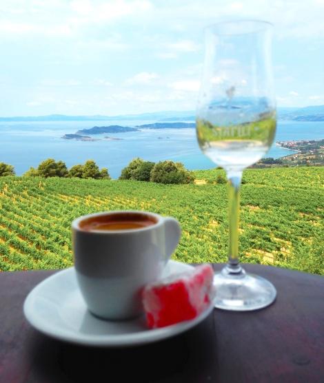 "Greek coffee, rose pedal sugar ""loukoumi"" & Tsipouro. Heaven!"